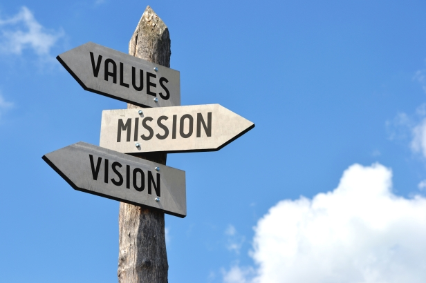 Wooden signpost - values, mission, vision